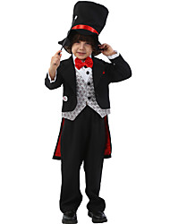 저렴한 -가장 위대한 쇼맨 의상 남아 여아 영화 코스플레이 블랙 탑 팬츠 모자 할로윈 카니발 가장 무도회 폴리스터