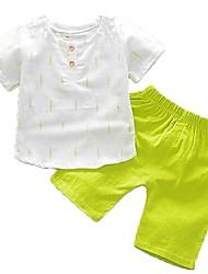 billige -Baby Gutt Grunnleggende Daglig Trykt mønster Kortermet Normal Normal Bomull Tøysett Grønn