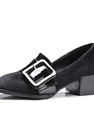 cheap -Women's Microfiber Spring Casual / Minimalism Heels Low Heel Square Toe Buckle Black / Gray / Red