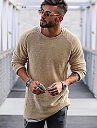 Недорогие -Муж. Повседневные Однотонный Длинный рукав Обычный Пуловер Красный / Бежевый / Светло-коричневый M / L / XL