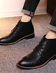 cheap -Men's Combat Boots Faux Leather Fall Boots Booties / Ankle Boots Black / Light Brown / Dark Brown