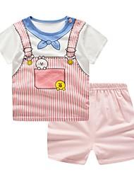 זול -סט של בגדים כותנה קצר קצר שרוולים קצרים סרוג כחול ולבן בסיסי בנות תִינוֹק / פעוטות