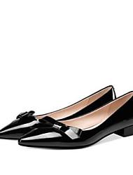 ieftine -Pentru femei Nappa Leather / Piele Originală Toamnă Dulce / minimalism Pantofi Flați Toc Îndesat Vârf pătrat Ținte Negru / Migdală
