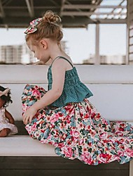 ราคาถูก -เด็ก / Toddler เด็กผู้หญิง ซึ่งทำงานอยู่ / โบโฮ ทุกวัน ลายดอกไม้ ลายต่อ เสื้อไม่มีแขน สั้น ฝ้าย / เส้นใยสังเคราะห์ ชุดเสื้อผ้า ใบไม้สีเขียวที่มีสามแฉก