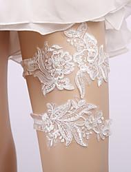 ราคาถูก -ลูกไม้ เกี่ยวกับเจ้าสาว Wedding Garter กับ เข็มกลัด / มุก สายรัด งานแต่งงาน / ปาร์ตี้