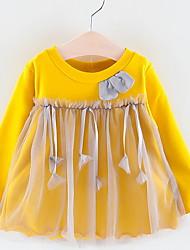billige -Baby Jente Aktiv Fargeblokk Blonde Langermet Polyester Kjole Hvit
