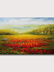 povoljno -Hang oslikana uljanim bojama Ručno oslikana - Pejzaž Moderna Uključi Unutarnji okvir
