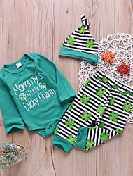billige -Baby Gutt Grunnleggende Daglig Trykt mønster Trykt mønster Langermet Normal Bomull / Polyester Tøysett Grønn