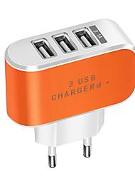 Недорогие -Портативное зарядное устройство Зарядное устройство USB Евро стандарт Нормальная 3 USB порта 2 A DC 5V для