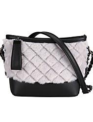 hesapli -Kadın's Çantalar Kadife Omuz çantası Fermuar için Günlük Beyaz / Siyah / Gri