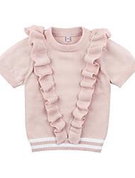 abordables -Bebé Chica Activo Diario Un Color Manga Corta Corto Poliéster Camiseta Rosa