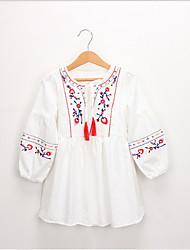 Χαμηλού Κόστους -Νήπιο Κοριτσίστικα Γλυκός / Κινεζικό στυλ Tribal Μακρυμάνικο Φόρεμα Θαλασσί
