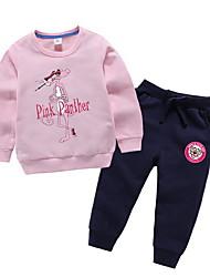 billige -Barn / Baby Jente Aktiv Tegneserie Langermet Polyester Tøysett Rosa