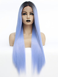 cheap -Synthetic Lace Front Wig / Ombre Straight Style Middle Part Lace Front Wig Ombre Black / Blue Synthetic Hair 22-26 inch Women's Heat Resistant / Color Gradient / Dark Roots Ombre Wig Long Natural Wigs