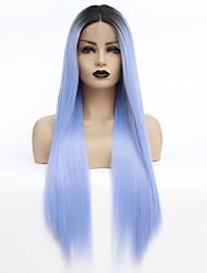 billige -Syntetisk Lace Front Parykker / Nuance Lige Stil Mellemdel Blonde Front Paryk Nuance Sort / Blå Syntetisk hår 22-26 inch Dame Varme resistent / Farvegradient / Mørke hårrødder Nuance Paryk Lang
