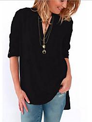 Χαμηλού Κόστους -γυναικείο πλεκτό πουκάμισο - συμπαγές χρώμα λαιμού