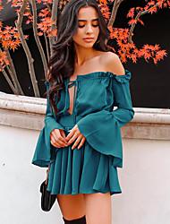 Χαμηλού Κόστους -Γυναικεία Κομψό στυλ street Θήκη Φόρεμα - Μονόχρωμο Πάνω από το Γόνατο