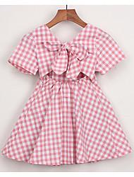 お買い得  -幼児 女の子 活発的 日常 千鳥格子 半袖 膝上 ポリエステル ドレス ブルー