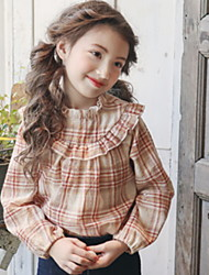 Недорогие -Дети Девочки Активный Шахматка Длинный рукав Рубашка Красный