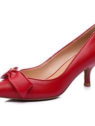 Χαμηλού Κόστους -Γυναικεία Νάπα Leather Άνοιξη / Καλοκαίρι Καθημερινό / Μινιμαλισμός Τακούνια Τακούνι Στιλέτο Μυτερή Μύτη Φιόγκος Μαύρο / Κόκκινο