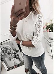 저렴한 -여성용 아시아 사이즈 셔츠 - 솔리드 컬러 라운드 넥
