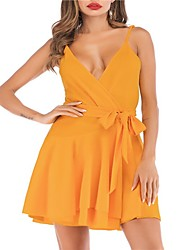 cheap -Women's Daily Beach Basic Boho Mini Swing Dress - Solid Colored Patchwork Deep V Summer Orange M L XL