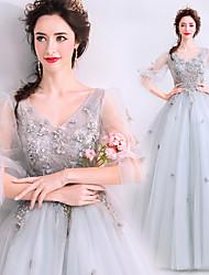 Χαμηλού Κόστους -Cinderella Φορέματα Γυναικεία Στολές Ηρώων Ταινιών Γκρίζο Φόρεμα Halloween Απόκριες Μασκάρεμα Τούλι Βαμβάκι Κέντημα