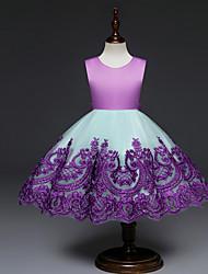 Χαμηλού Κόστους -Μωρό Κοριτσίστικα Βασικό Συνδυασμός Χρωμάτων Αμάνικο Πολυεστέρας Φόρεμα Ρουμπίνι