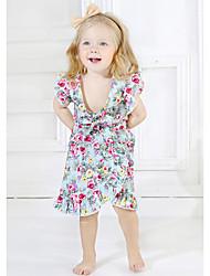 billige -Baby Jente Fritid Daglig Blomstret Kortermet Kort Polyester Tøysett Rosa