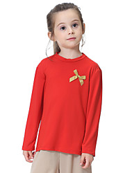 billige -Barn Jente Aktiv / Grunnleggende Daglig / Sport / Strand Ensfarget Sløyfe Langermet Normal Polyester / Spandex Bluse Grå