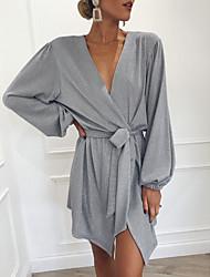 Недорогие -Жен. Рубашка Платье - Однотонный, Бант Оборки Глубокий V-образный вырез Выше колена
