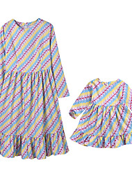 cheap -Adults / Kids / Toddler Mommy and Me Boho Daily Geometric Print Long Sleeve Cotton / Polyester Dress Rainbow
