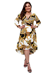 رخيصةأون -فستان نسائي قياس كبير A line ثوب ضيق أساسي بوهو طباعة ميدي نحيل أسود و أبيض ورد هندسي ألوان متناوبة منخفضة V رقبة مناسب للخارج / مثير