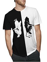 baratos -tamanho asiático dos homens t-shirt - bloco de cor em volta do pescoço