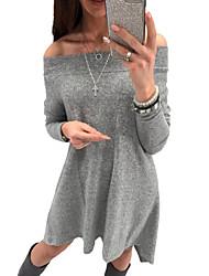 Недорогие -Жен. Уличный стиль А-силуэт Платье - Однотонный С открытыми плечами До колена