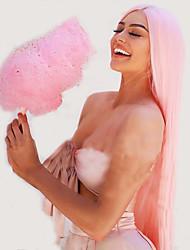 Недорогие -Синтетические кружевные передние парики Естественные прямые Kardashian Стиль Стрижка каскад Лента спереди Парик Розовый Розовый + Красный Искусственные волосы 24 дюймовый Жен. Женский Розовый Парик