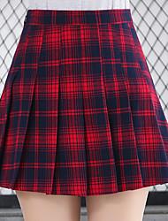 abordables -Estudiante / Uniforme de escuela Colegialas JK Uniform Falda Disfrace de Cosplay Mujer Chica Adulto Escuela secundaria Para Halloween Rendimiento Poliéster Cuadros / A Cuadros Falda Navidad Halloween
