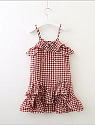 Χαμηλού Κόστους -Νήπιο Κοριτσίστικα Γλυκός / χαριτωμένο στυλ Τετράγωνο Καρό Αμάνικο Φόρεμα Ρουμπίνι
