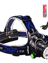 Недорогие -Налобные фонари Фары для велосипеда 1600 lm Светодиодная лампа Cree® XM-L2 излучатели 3 Режим освещения с батарейками и зарядным устройством Водонепроницаемый Масштабируемые Фокусировка