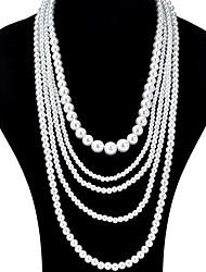 Недорогие -Жен. Слоистые ожерелья Pearl Пряди длинное ожерелье Длиные Дамы азиатский Свадьба Многослойный Жемчуг Черный Светло-серый Белый Красный Ожерелье Бижутерия 1шт Назначение / Жемчужные ожерелья