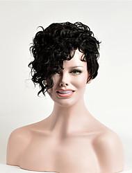 abordables -Perruque Synthétique Bouclé Noir Coupe Asymétrique Marron foncé Cheveux Synthétiques 6 pouce Femme Soirée Noir Perruque Court Sans bonnet