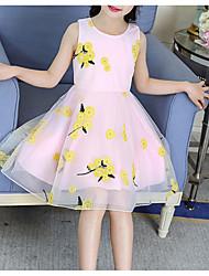 billige -Barn Jente søt stil Daglig Blomstret Trykt mønster Ermeløs Knelang Polyester Kjole Blå