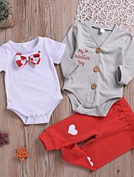 billige -Baby Gutt Aktiv / Grunnleggende Daglig Trykt mønster Trykt mønster Langermet Normal Normal Bomull Tøysett Hvit