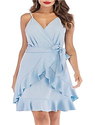 cheap -Women's Daily Beach Basic Boho Mini Trumpet / Mermaid Dress - Solid Colored Patchwork Strap Summer Light Blue M L XL