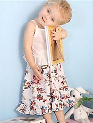billige -Baby Jente Fritid Daglig Blomstret Trykt mønster Ermeløs Normal Polyester / Kalveskinn Tøysett Hvit