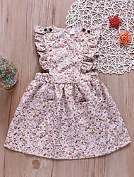 ราคาถูก -เด็ก / Toddler เด็กผู้หญิง หวาน ทุกวัน ลายดอกไม้ ลายพิมพ์ เสื้อไม่มีแขน ฝ้าย กระโปรงชุด สายรุ้ง