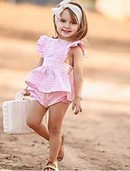 Недорогие -малыш Девочки Активный / Классический Повседневные С принтом Без рукавов Длинный Хлопок Набор одежды Розовый