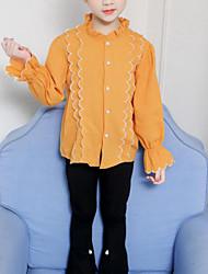 billige -Barn Jente Aktiv / Gatemote Daglig / Ut på byen Stripet Drapering / Broderi Langermet Normal Rayon Skjorte Beige