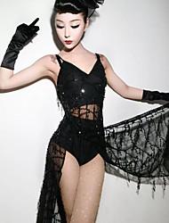 זול -המופע הגדול נשף מסכות בגדי ריקוד נשים תחפושות משחק של דמויות מסרטים שחור שמלה תחתוני גברים האלווין (ליל כל הקדושים) קרנבל נשף מסכות תחרה Paillette כותנה