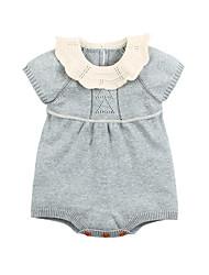 hesapli -Bebek Genç Kız Actif Günlük Siyah gri Solid Örgülü Yarım Kol Pamuklu / Naylon bodysuit Doğal Pembe